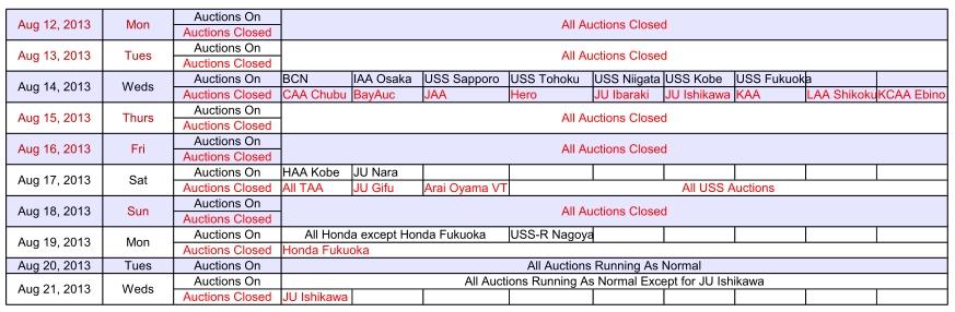 2013 Obon Japan car auction schedule