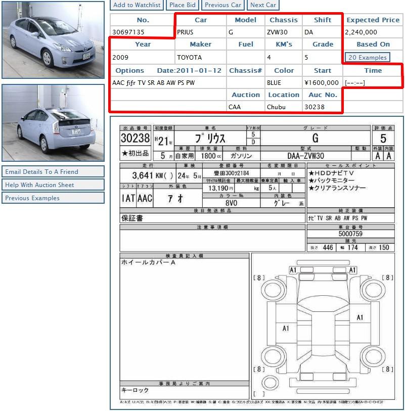 Japanese car auction sheet example