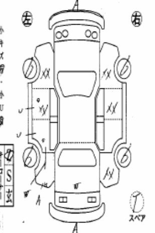 Grade R with serious repairs in the car auction in Japan