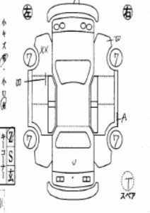 Car map of a grade R car with minor repairs in the car auction in Japan