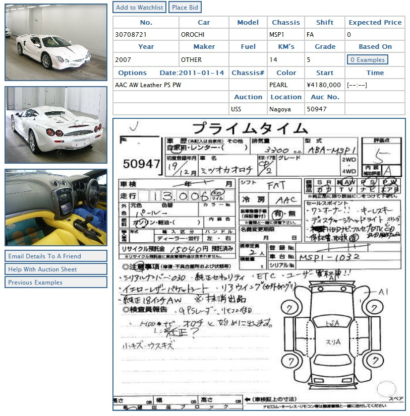 Mitsuoka Orochi car auction inspectors report