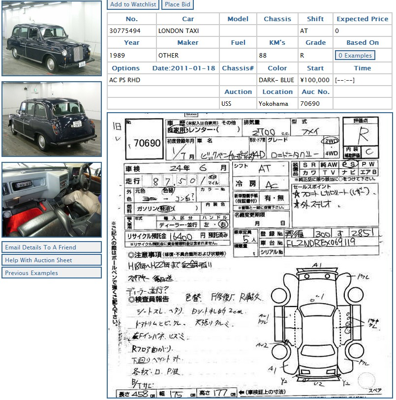 London taxi (black cab) at car auction in Japan