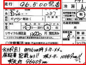 Odometer changed with records shown on Japanese car auction report