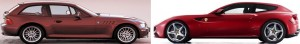 Ferrari FF and BMW Z3 coupe