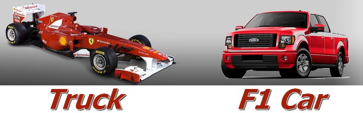 F150 Ferrari F1 Car and F-150 Ford Truck