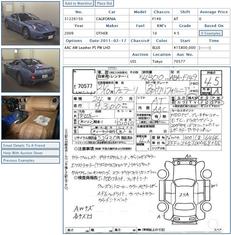 Ferrari California 2009 car in the car auction in Japan