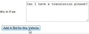 Entering a bid in Integrity Exports' online Japan car auction system