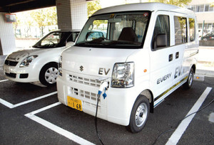 Suzuki EV Every electric kei van next to Suzuki Swift Range Extender