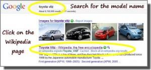 Toyota Vitz search using Google