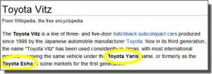 Toyota Vitz, also known as the Yaris and Echo