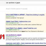 Car auctions in Japan Google ranking result - Integrity Exports is number 1