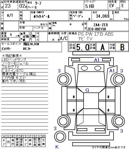 2012 Nissan Leaf Auction Sheet