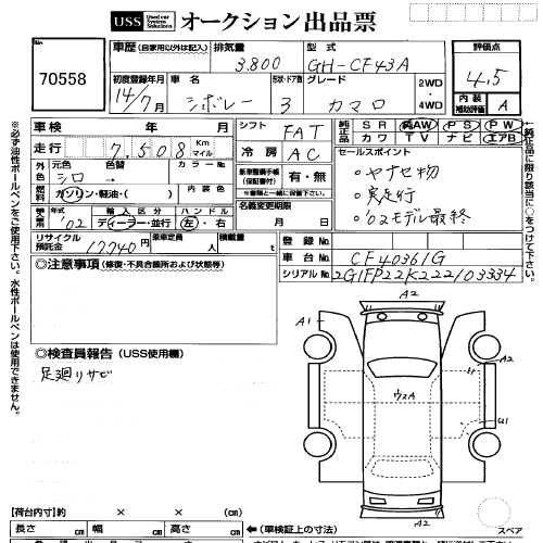 2002 Chevrolet Camaro auction sheet