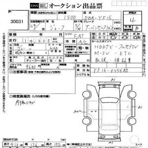 2012 Nissan Juke auction sheet